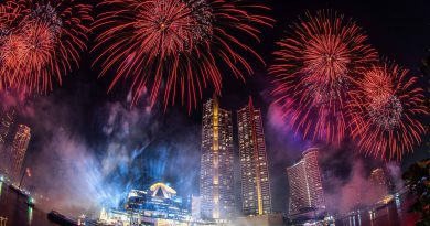 The show goes on in Bangkok as 25,000 eco-friendly fireworks light up 1.4 km of the city's riverfront as part of Thailand's 2021 National Countdown at ICONSIAM